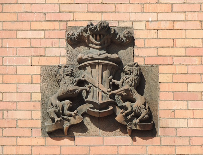 A dramatic crest on one of Spokane's buildings. - LOGAN CAMPOREALE PHOTO