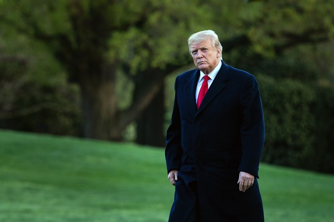 President Donald Trump walks across the south lawn of the White House after returning from a trip to Minnesota on Monday, April 15, 2019. - ERIN SCHAFF/THE NEW YORK TIMES