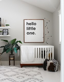 For just $6, Danielle Loft created the black and white mobile to complete her nursery design. - DANIELLE LOFT PHOTO