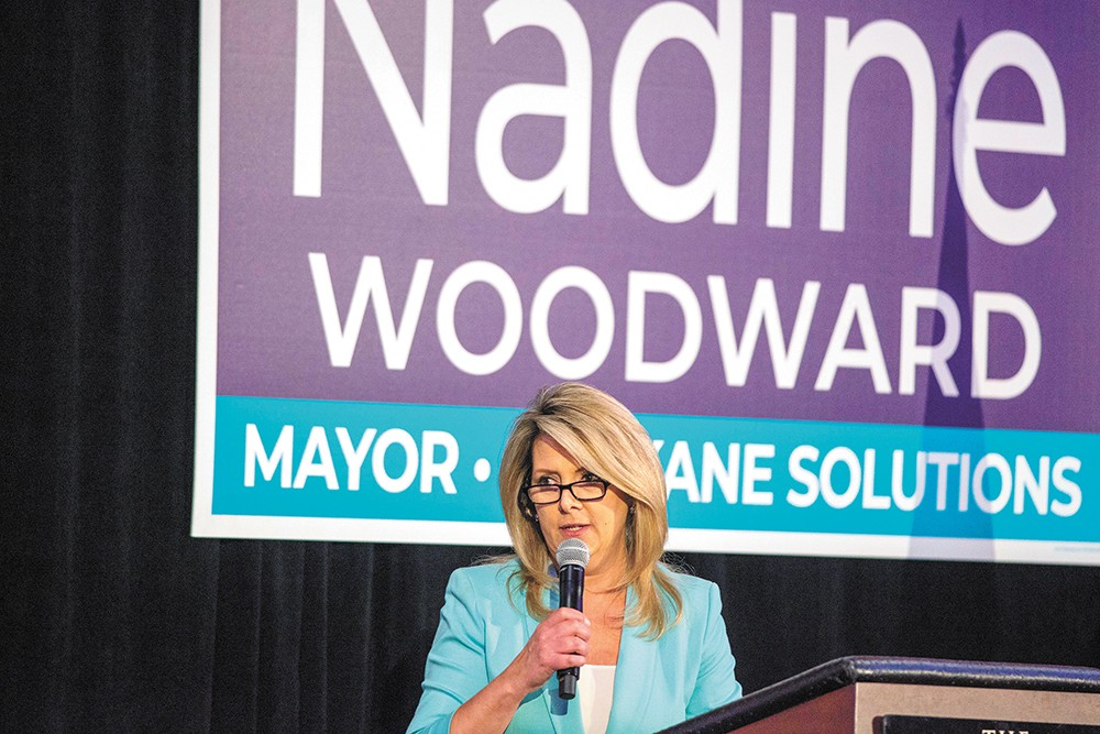 The Inlander has repeatedly requested an interview with Nadine Woodward, including in person after her May 8 campaign fundraiser. - DANIEL WALTERS PHOTO