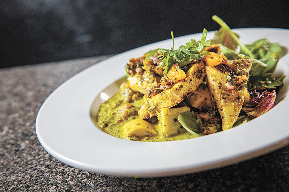 Lucky You Lounge chef Josh Grimes' take on green curry with tofu and kumquat relish. - ERICK DOXEY PHOTO