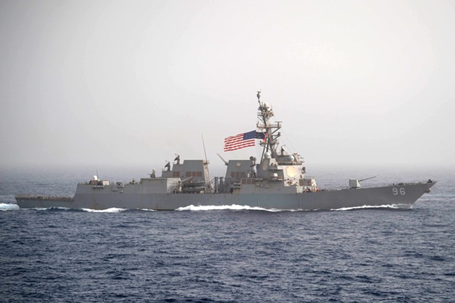 "In an image provided by the U.S. Navy, the USS Bainbridge, an Arleigh Burke-class guided-missile destroyer, in the Mediterranean on April 24, 2019. Navy officials said the Bainbridge was ""rendering assistance"" after the reported attacks on two tankers in the Gulf of Oman on June 13, 2019. - SEAMAN ZACHARY PEARSON/U.S. NAVY VIA THE NEW YORK TIMES"