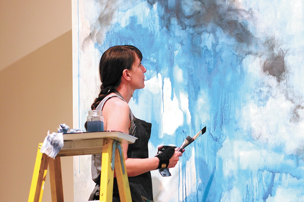 Artist Jen Erickson found painting on a wall instead of canvas surprisingly satisfying. - CARRIE SCOZZARO