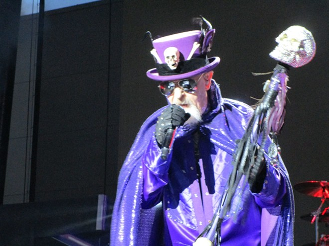 Besides an impressive array of jackets he traded throughout the show, Rob Halford hit the stage in a particularly jaunty chapeau. - DAN NAILEN PHOTO