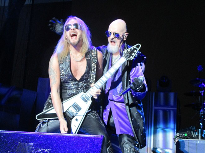 Judas Priest guitarist Richie Faulkner and lead singer Rob Halford. - DAN NAILEN PHOTO