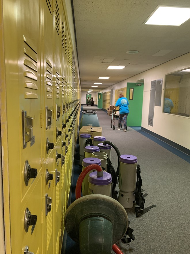 The halls in Mead Jr High are now stacked with old cleaning supplies. - MORGAN SCHEERER PHOTO