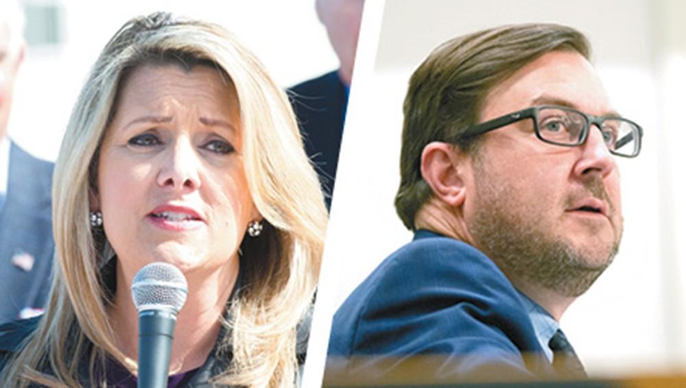 Mayoral candidates Nadine Woodward and Ben Stuckart. - DANIEL WALTERS PHOTO