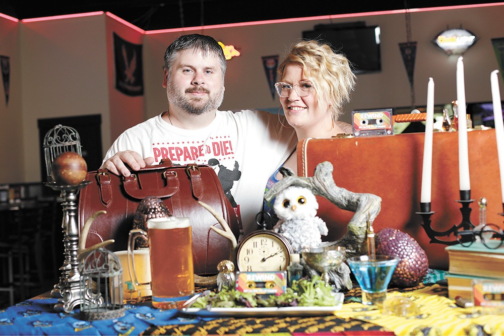 Rewind owners Kris Kilduff and Sara Thorpe with Harry Potter-themed table props for their next pop-up dinner. - YOUNG KWAK PHOTO