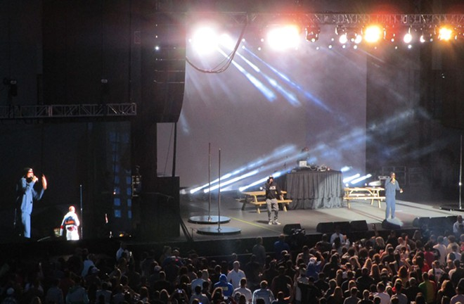 Snoop (right) on his sparse stage at Northern Quest Thursday night. - DAN NAILEN