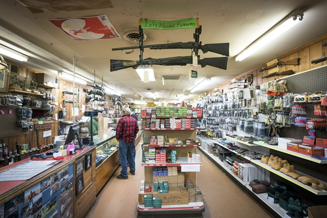 Inside the Clark Brothers Gun Shop in Warrenton, Va., Feb. 25, 2018. A new study published on July 22, 2019, in the American Journal of Preventive Medicine has found that a higher rate of firearm ownership is associated with a higher rate of domestic violence homicide in the U.S., but that the same does not hold true for other kinds of gun homicide. - ERIN SCHAFF/THE NEW YORK TIMES
