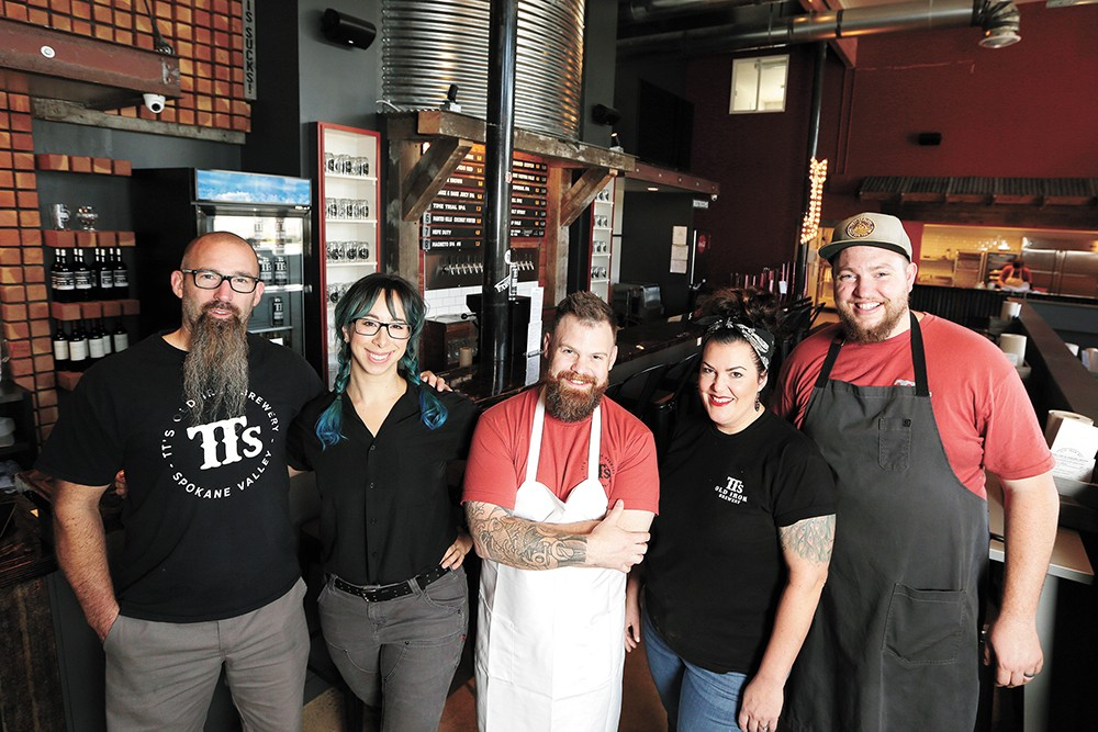Co-owner Travis Thosath, brewer Rachel Nalley, co-owner Chad White, general manager Necole Flerchinger and pitmaster Colin Barker. - YOUNG KWAK PHOTO