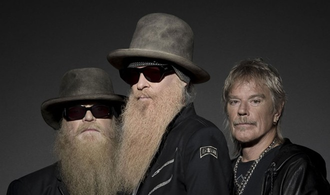 Billy Gibbons (center) and ZZ Top won't be playing Spokane this summer after all. But he did do an interview with the Inlander.