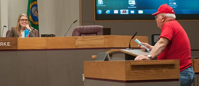 Civic gadfly George McGrath and City Councilwoman Kate Burke during a 2018 council meeting. - DANIEL WALTERS PHOTO