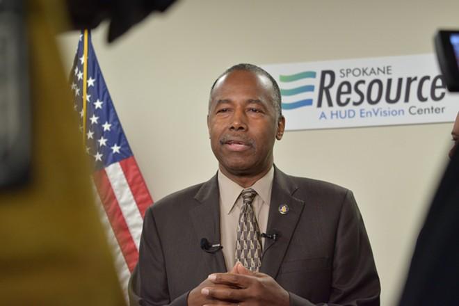 Housing and Urban Development Secretary Ben Carson visited the Spokane Resource Center on Tuesday. - WILSON CRISCIONE PHOTO