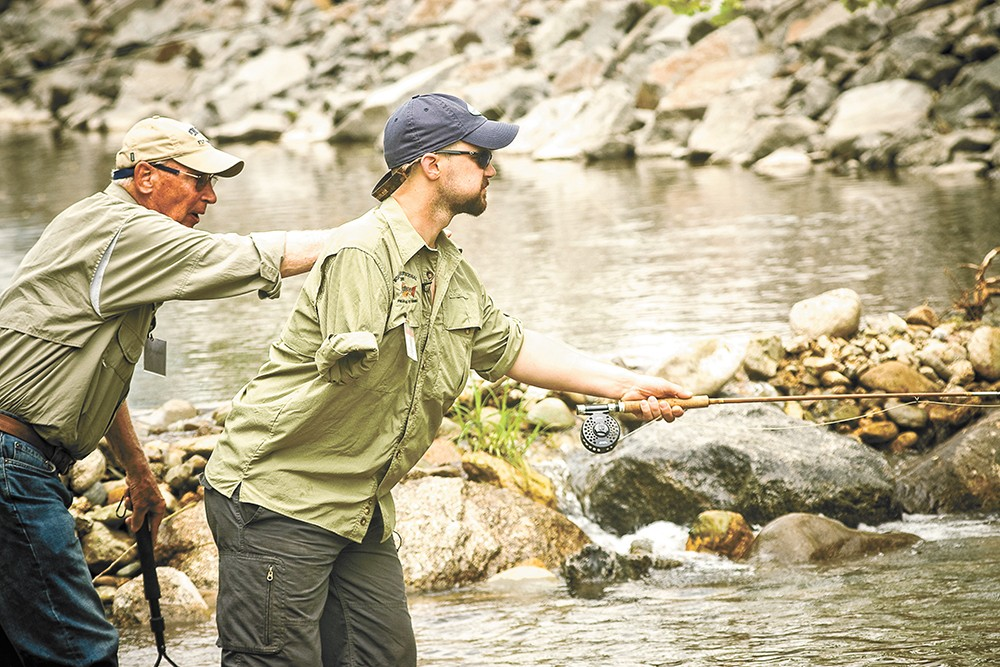 Participants in Project Healing Waters learn the basics of fly fishing while getting outside in a supported environment. - PROJECT HEALING WATERS PHOTO