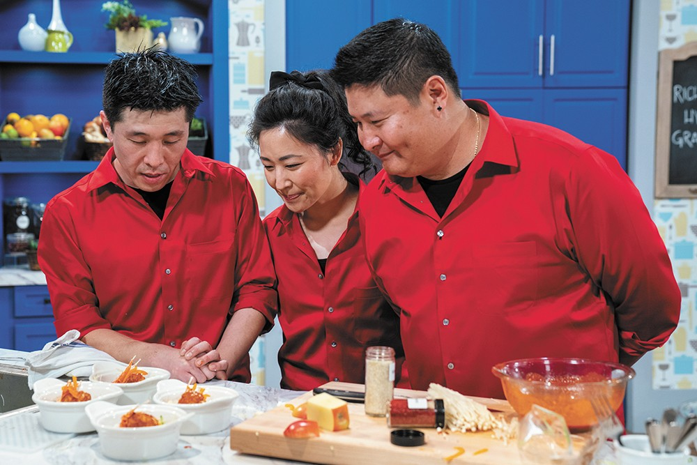 Family members Grace McNiel, Hyun Son and Richard Son of Coeur d'Alene on Family Food Showdown. - FOOD NETWORK PHOTO