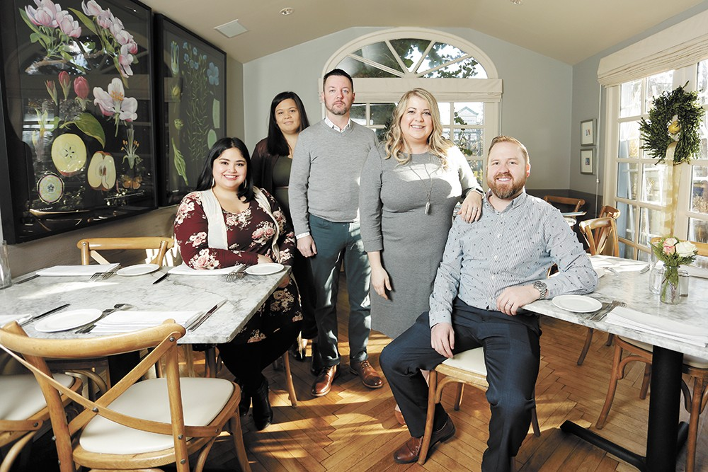 (Left to right) Spokane Culinary Arts Guild tastemaker Ashley Buckner, tastemaker Kacey Rosauer, co-owner Rob Peterson, co-owner Erin Peterson and tastemaker Colby Rosauer. - YOUNG KWAK PHOTO