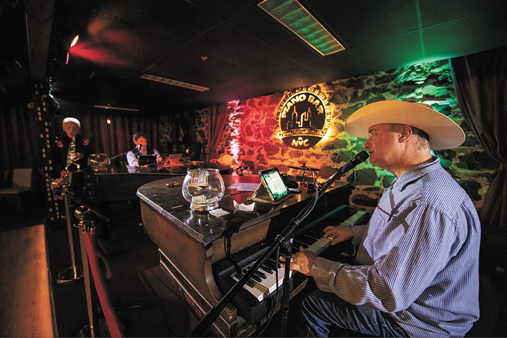 Dewey Dorough, Carson Rhodes and Jimi Finn (left to right) perform at The NYC Piano Bar in Coeur d'Alene. - ERICK DOXEY PHOTO