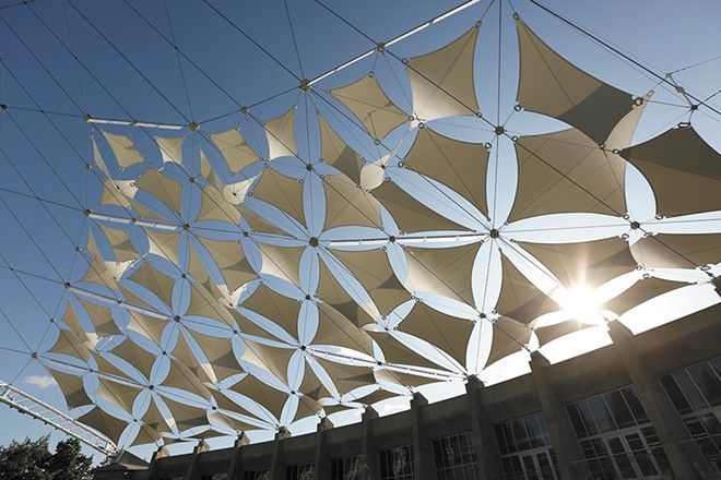 As a bonus, the new shade panels cast a distinctive geometric pattern on the Pavilion floor. - YOUNG KWAK PHOTO