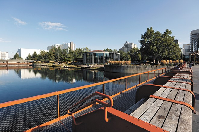 """The aging Howard Street South Bridge had to be replaced. The new """"orange bridge"""" is wider, with built-in power and water for events and vendors. The """"Get Down"""" design element by Berger Partnership allows you to get closer to the water. - YOUNG KWAK PHOTO"""