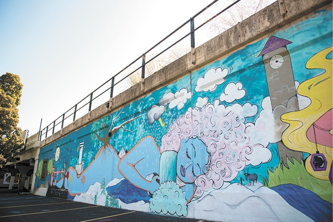 A portion of the 160-foot-long mural by Shelby Allison and Susan Webber. - DEREK HARRISON PHOTO