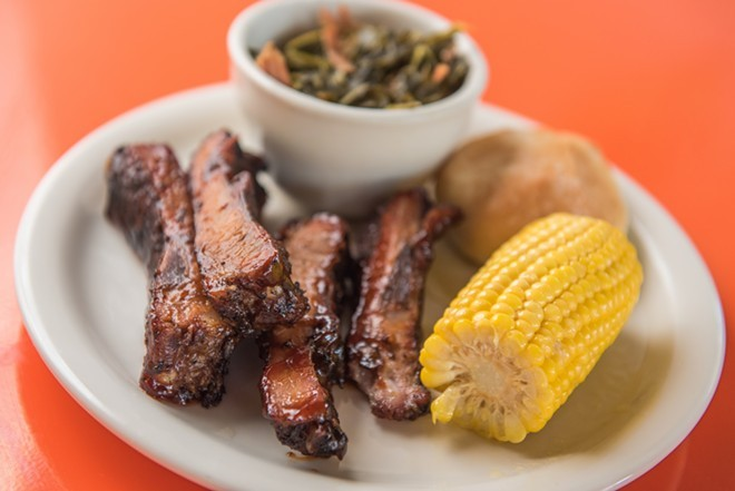 Ribs, corn, collard greens and a biscuit at Fresh Soul. - ERICK DOXEY