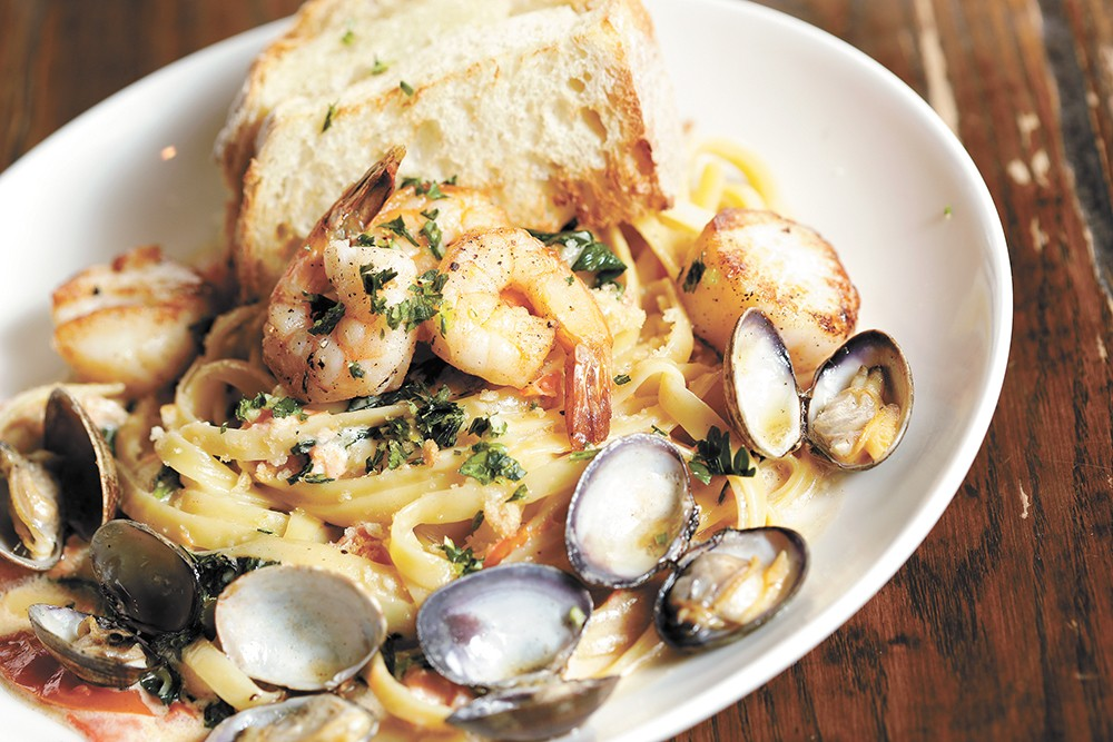 Clinkerdagger's pan-seared shellfish fettuccine. - YOUNG KWAK PHOTO