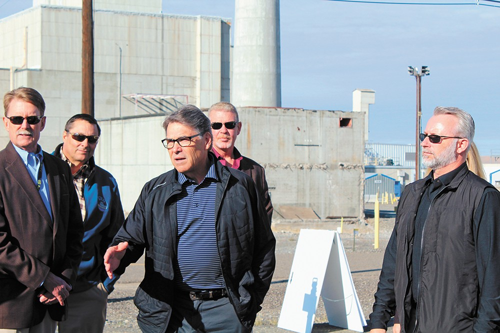Energy Secretary Rick Perry visits the K Reactor area on the Hanford Reservation, where some cleanup of toxic sludge was recently completed. - SAMANTHA WOHLFEIL PHOTO