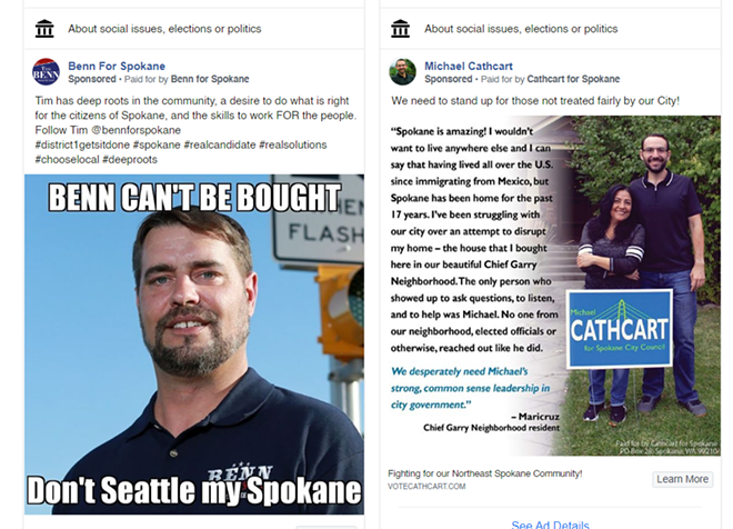 Both Tim Benn and Michael Cathcart have purchased ads on Facebook, despite Facebook claiming they'd refuse to sell political ads in Washington.