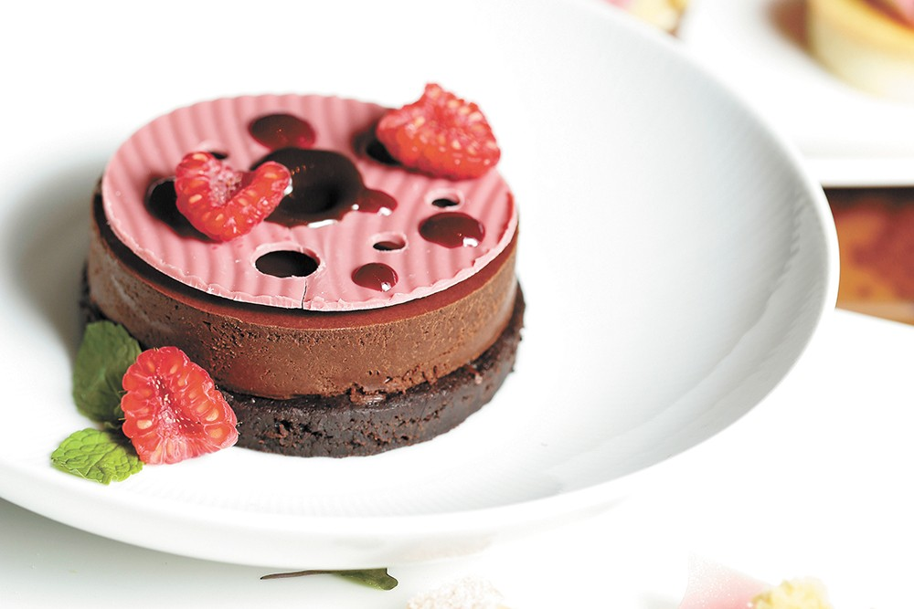 This lava cake at Masselow's  Steakhouse features ruby chocolate disk on top. - YOUNG KWAK PHOTO