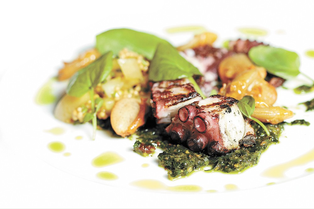 Grilled octopus with basil, white bean and arugula, one of the restaurant's first-plate choices. - YOUNG KWAK PHOTO