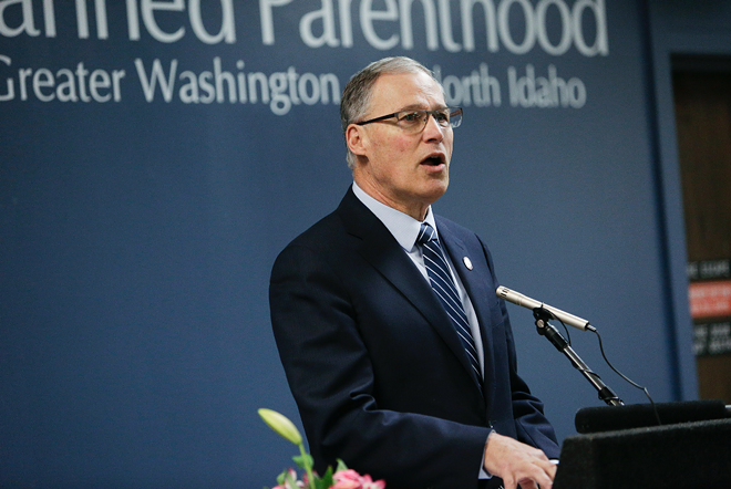 Gov. Jay Inslee during a visit to Spokane.