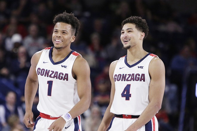 Gonzaga guard Admon Gilder (left) and guard Ryan Woolridge on the court during the second half of a game on Nov. 1, 2019. - YOUNG KWAK PHOTO