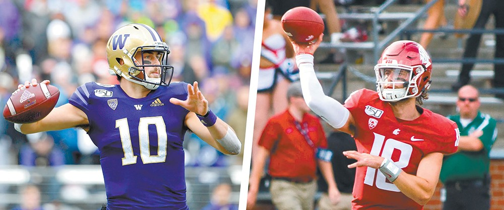 This will be the only Apple Cup showdown between UW's Jacob Eason (left) and WSU's Anthony Gordon. - ALIKA JENNER PHOTO/WSU ATHLETICS PHOTO