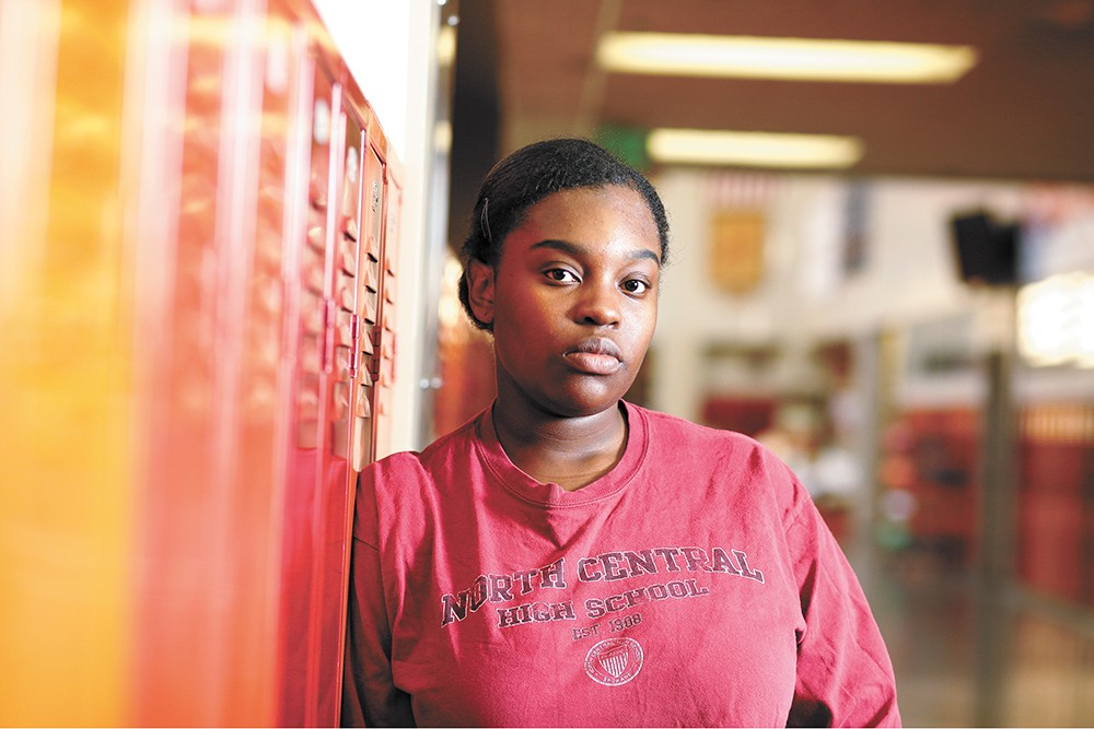 High school senior Zyaira Webb is president of a club at North Central called Shades, a safe environment for students to talk about race. - YOUNG KWAK PHOTO