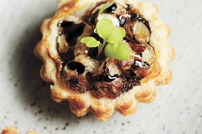Vine & Olive chef Josh Pebbles' Pearl Onion Tartes Tatin - YOUNG KWAK PHOTO