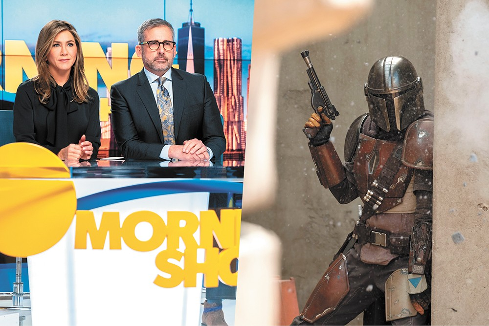 The Morning Show (left) falls flat, while The Mandalorian explores the seedier side of the Star Wars universe.