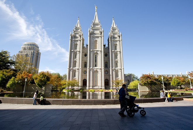 The Salt Lake Temple of the Church of Jesus Christ of Latter-day Saints in Salt Lake City, Utah, Oct. 7, 2014. - KIM RAFF/THE NEW YORK TIMES