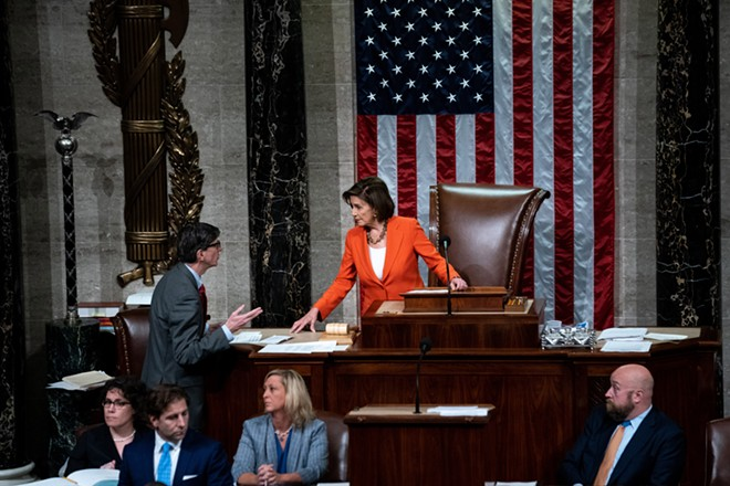 House Speaker Nancy Pelosi (D-Calif.) presides as the House of Representatives votes on a resolution outlining the rules for the next phase of the impeachment inquiry into President Donald Trump on the floor of the House in Washington on Thursday, Oct. 31, 2019. A bitterly divided House of Representatives voted on Thursday to endorse the Democratic-led impeachment inquiry into President Donald Trump, in a historic action that set up a critical new public phase of the process and underscored the toxic political polarization that serves as its backdrop. - ERIN SCHAFF/THE NEW YORK TIMES