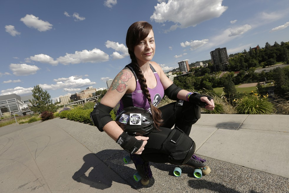 Lilac City Roller Derby's Jada Bellrose, who skates under the name Pippi Headstomping. We profiled her in July after she made the roster for Jewish Roller Derby, the first-ever team of its kind. - YOUNG KWAK PHOTO