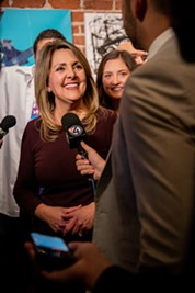 Nadine Woodward addresses the media at her election night party at Barrister Winery. - ERICK DOXEY