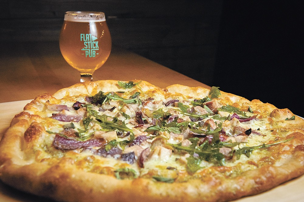 Flatstick Pub's Fairway pizza is availble for just $10 during happy hour. - ERICK DOXEY PHOTO