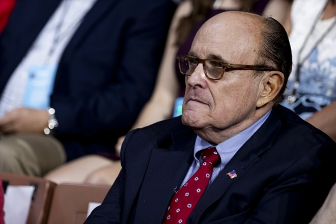 Rudy Giuliani, President Donald Trump's personal lawyer, attends a Keep America Great rally in Manchester, N.H., Aug. 15, 2019. - ANNA MONEYMAKER/THE NEW YORK TIMES