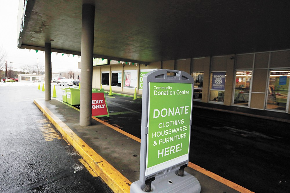 The state attorney general has argued that Value Village's signage is misleading. The signage pictured is currently displayed outside the location on Boone Avenue in Spokane. - YOUNG KWAK PHOTO