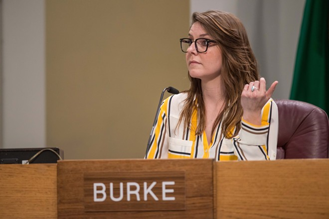 City Councilwoman Kate Burke objects to rules requiring public forum commenters to only talk about city issues. - DANIEL WALTERS PHOTO