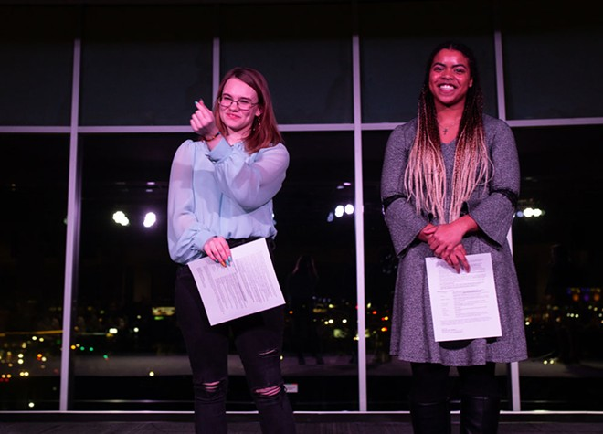 Madeline Luther (left) and Jordan Mattox both advanced to the state finals of the Poetry Out Loud competition after winning the regional finals. - KEELIN ELIZABETH FOR SPOKANE ARTS