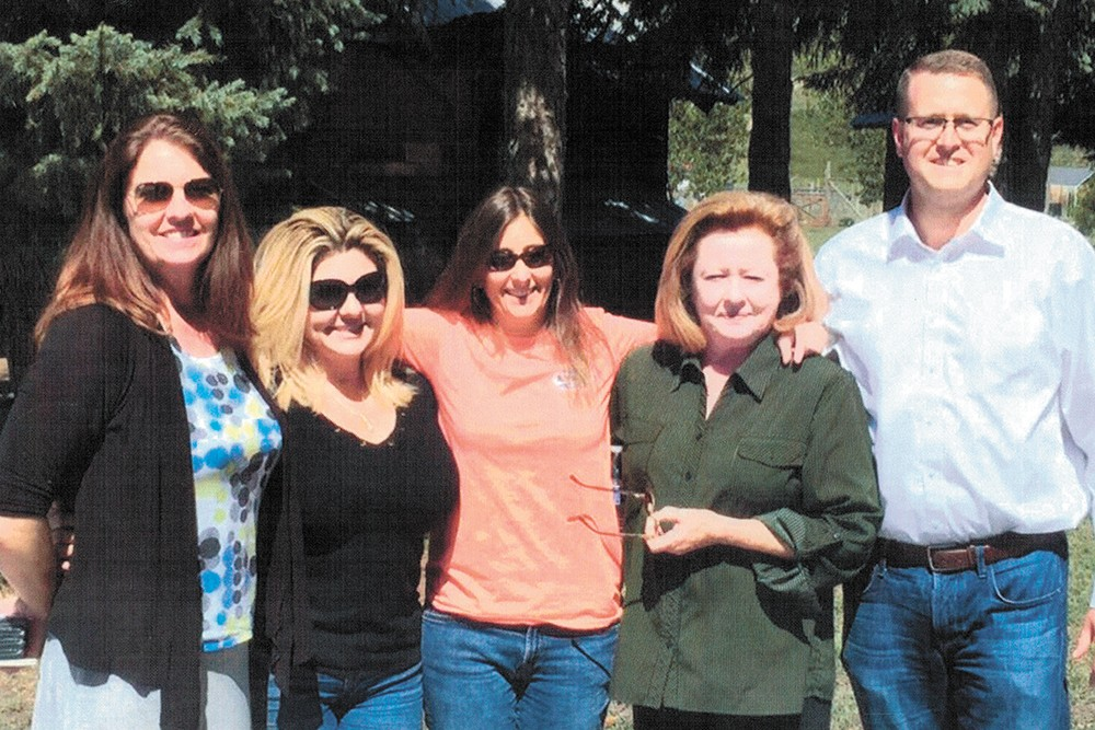 """Coalition of Western States members (left to right) Shelly Shelton, Michele Fiore (both of Nevada), Heather Scott and Matt Shea at Marble Community Fellowship's 2016 """"God and Country"""" rally. Marble founder Ann Byrd is second from the right.  RAMPART REPORT PHOTO - RAMPART REPORT PHOTO"""