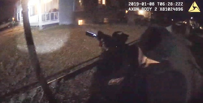 A screengrab from Spokane Police Officer Brandon Rankin's body camera footage depicting the fatal shooting of David M. Novak. Responding officers had previously received reports that Novak was armed. - COURTESY OF SPOKANE POLICE DEPARTMENT
