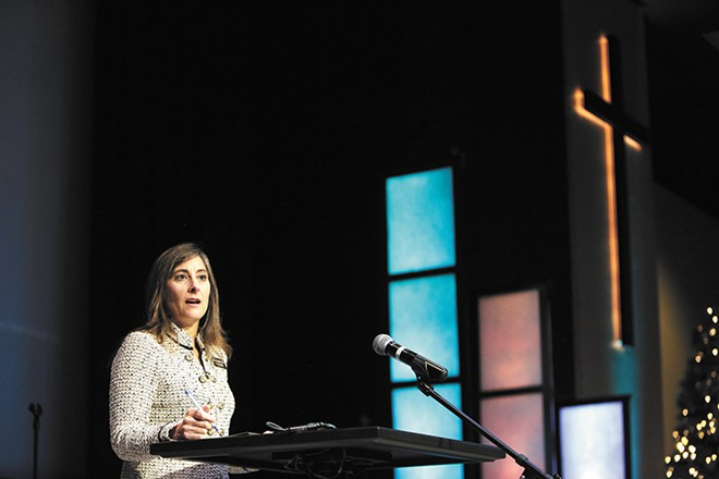 Idaho state Rep. Heather Scott at Candlelight Christian Church in Coeur d'Alene in December, where she presented her proposal to attempt to abolish abortion. - YOUNG KWAK PHOTO
