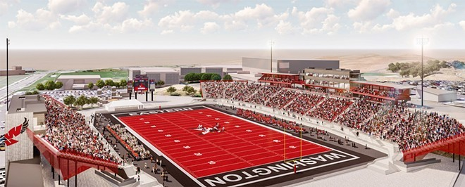A rendering of a renovated EWU stadium that the university hopes to pay for with private donations. - COURTESY OF EWU